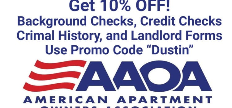 "AAOA Promo Code ""Dustin"" 10% OFF Background Checks and Credit Checks"